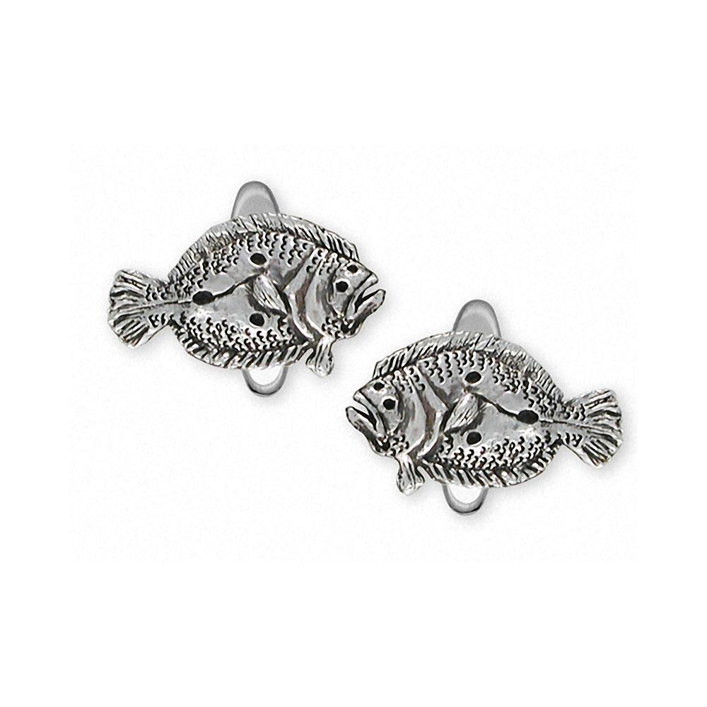 Flounder Charms Flounder Cufflinks Sterling Silver Fish Jewelry Flounder jewelry