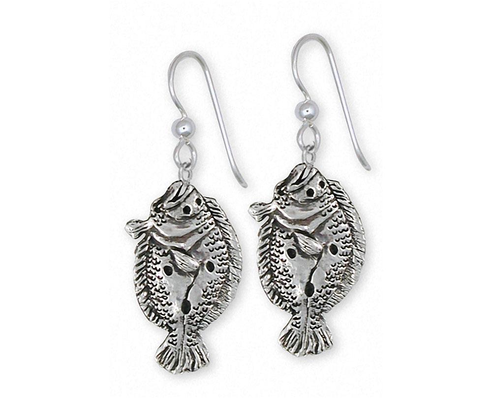 Flounder Charms Flounder Earrings Sterling Silver Fish Jewelry Flounder jewelry
