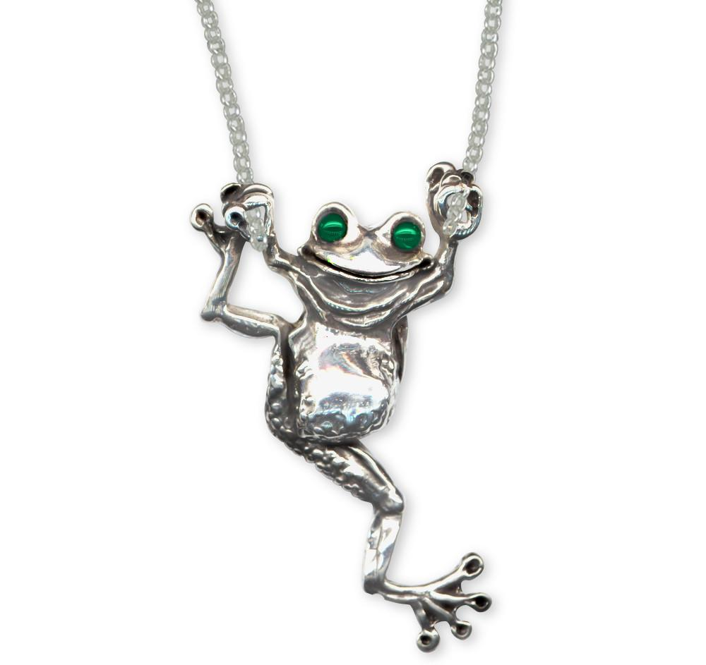 dp inches sterling frog silver necklace pendant com amazon