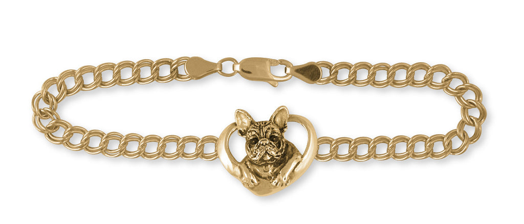 French Bulldog Bracelet 14k Yellow Gold Vermeil Dog Jewelry FR10-BVM