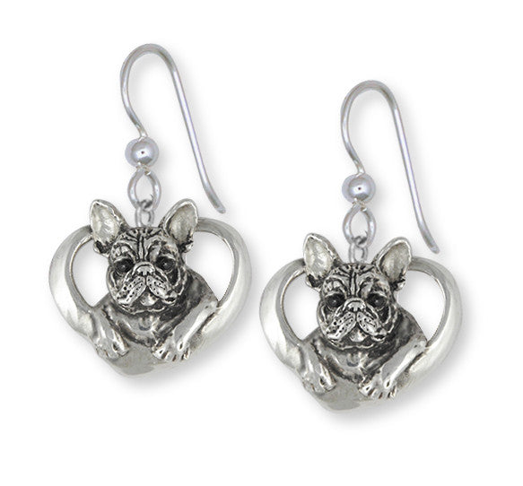 French Bulldog Earrings Handmade Sterling Silver Dog Jewelry FR10-E