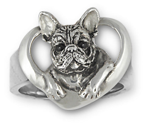 French Bulldog Ring Handmade Sterling Silver Dog Jewelry FR10-R