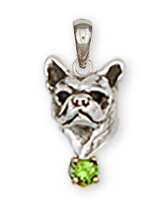 French Bulldog Birthstone Pendant Handmade Sterling Silver Dog Jewelry FR12-SP