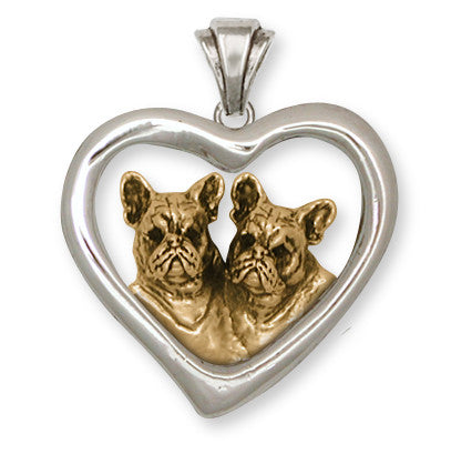 French Bulldog Pendant 14k Two Tone Gold Vermeil Dog Jewelry FR14H-PVM
