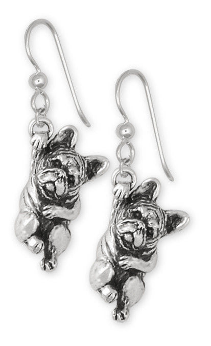 French Bulldog Earrings Handmade Sterling Silver Dog Jewelry FR16-E