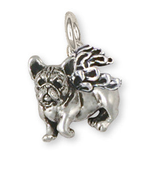 French Bulldog Angel Charm Handmade Sterling Silver Dog Jewelry FR17A-C