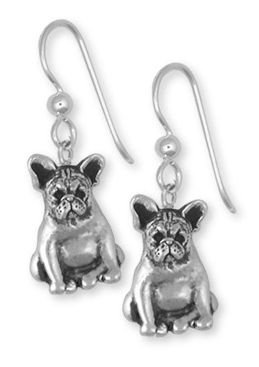 French Bulldog Earrings Handmade Sterling Silver Dog Jewelry FR19-E