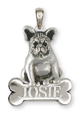 French Bulldog Personalized Pendant Handmade Sterling Silver Dog Jewelry FR19-NP