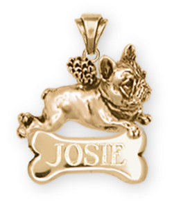 French Bulldog Angel Pendant 14k Yellow Gold Vermeil Dog Jewelry FR1A-NPVM