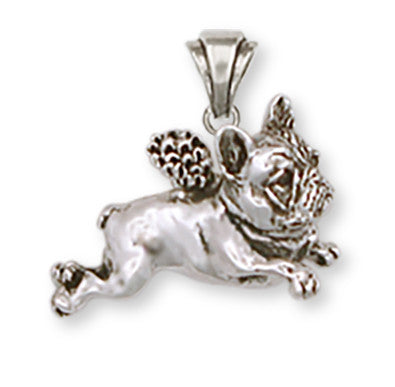 French Bulldog Angel Pendant Handmade Sterling Silver Dog Jewelry FR1A-P