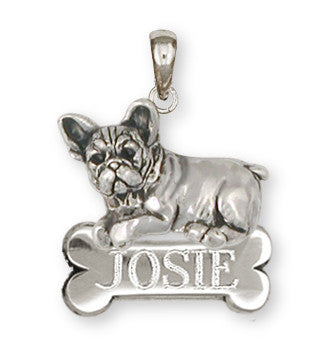French Bulldog Personalized Pendant Handmade Sterling Silver Dog Jewelry FR22-NP