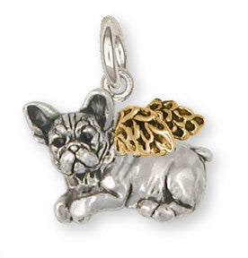 French Bulldog Angel Charm 14k Yellow Gold Vermeil Dog Jewelry FR22A-CVM