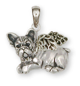 French Bulldog Angel Pendant Handmade Sterling Silver Dog Jewelry FR22A-P