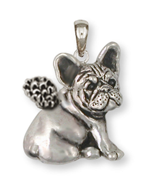 French Bulldog Angel Pendant Handmade Sterling Silver Dog Jewelry FR23-AP
