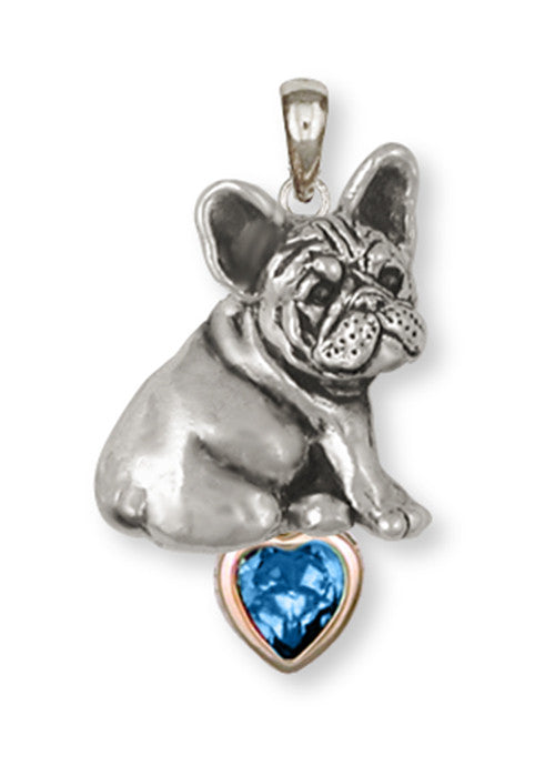 French Bulldog Birthstone Pendant Handmade Sterling Silver Dog Jewelry FR23-SP