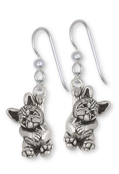 French Bulldog Earrings Handmade Sterling Silver Dog Jewelry FR24-E
