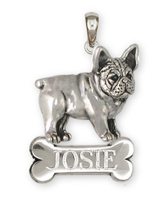 French Bulldog Personalized Pendant Handmade Sterling Silver Dog Jewelry FR25-BNP