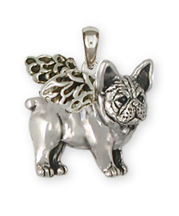 French Bulldog Angel Pendant Handmade Sterling Silver Dog Jewelry FR25A-P