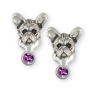 French Bulldog Birthstone Earrings Handmade Sterling Silver Dog Jewelry FR26-SE