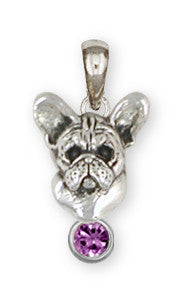French Bulldog Birthstone Pendant Handmade Sterling Silver Dog Jewelry FR26-SP