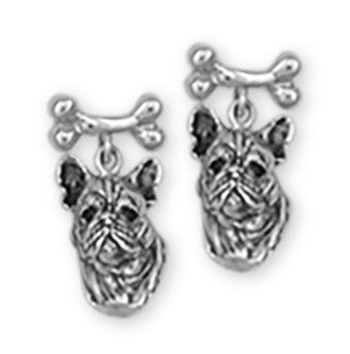 French Bulldog Earrings Handmade Sterling Silver Dog Jewelry FR3-BN3
