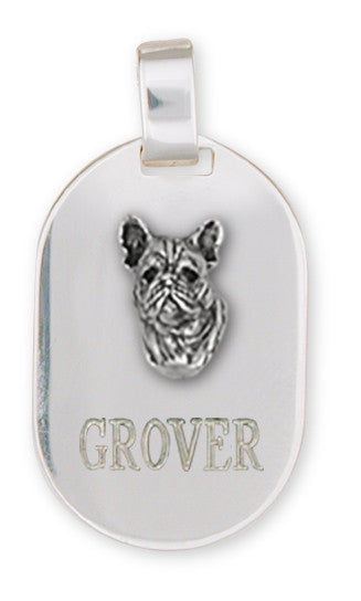 French Bulldog Dog Tag Style Pendant Handmade Sterling Silver Dog Jewelry FR3-DT