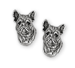 French Bulldog Earrings Handmade Sterling Silver Dog Jewelry FR3-E