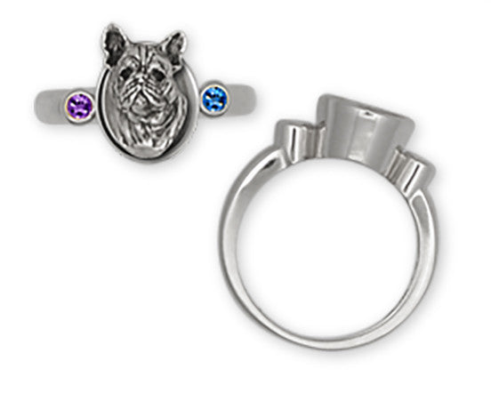 French Bulldog Ring Handmade Sterling Silver Dog Jewelry FR3-SR