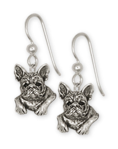 French Bulldog Earrings Handmade Sterling Silver Dog Jewelry FR4-E