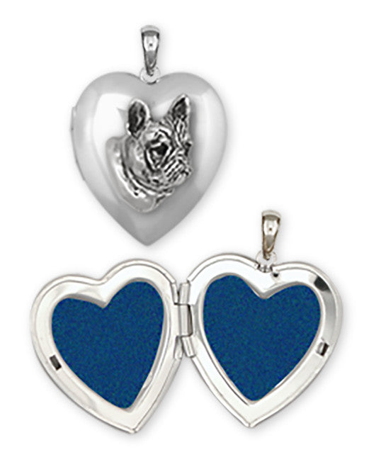 French Bulldog Photo Locket With Silver Chain Handmade Sterling Silver Dog Jewelry FR5H-T