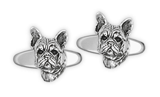 French Bulldog Cufflinks Handmade Sterling Silver Dog Jewelry FR6-CO