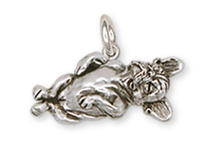 Napping French Bulldog Charm Handmade Sterling Silver Dog Jewelry FR8-C