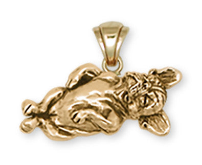 Napping French Bulldog Pendant 14k Yellow Gold Vermeil Dog Jewelry FR8-PVM