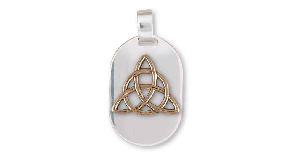 Father And Son Celtic Knot Pendant Sterling Silver And Yellow Bronze