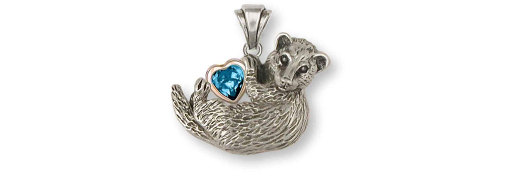 Ferret Charms Ferret Pendant Silver And 14k Gold Ferret Jewelry Ferret jewelry