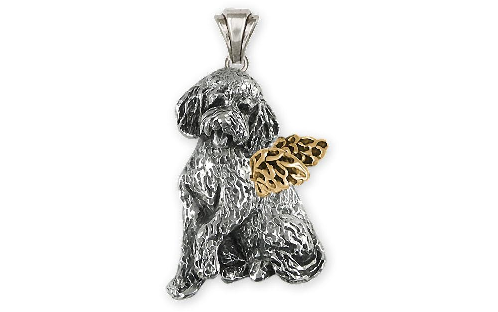 Goldendoodle Charms Goldendoodle Pendant Silver And 14k Gold Goldendoodle Jewelry Goldendoodle jewelry