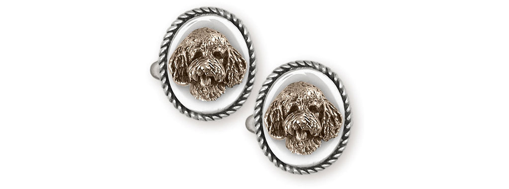 Goldendoodle Charms Goldendoodle Cufflinks Sterling Silver And Yellow Bronze Goldendoodle Jewelry Goldendoodle jewelry