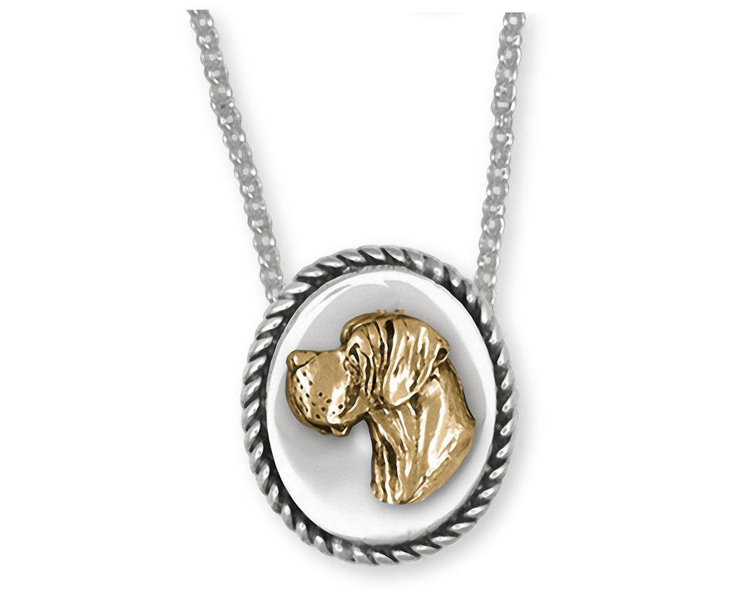 Great Dane Charms Great Dane Necklace Silver And 14k Gold Great Dane Jewelry Great Dane jewelry