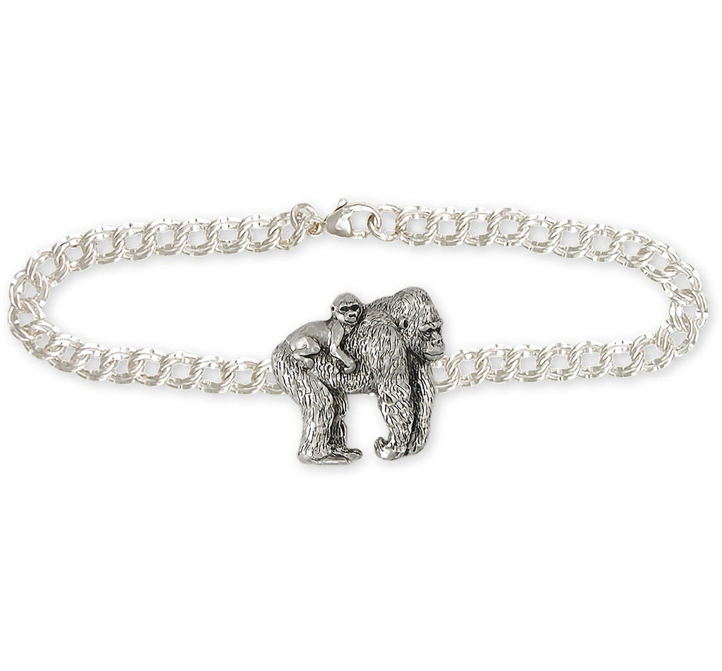 Gorilla Charms Gorilla Bracelet Sterling Silver Wildlife Jewelry Gorilla jewelry