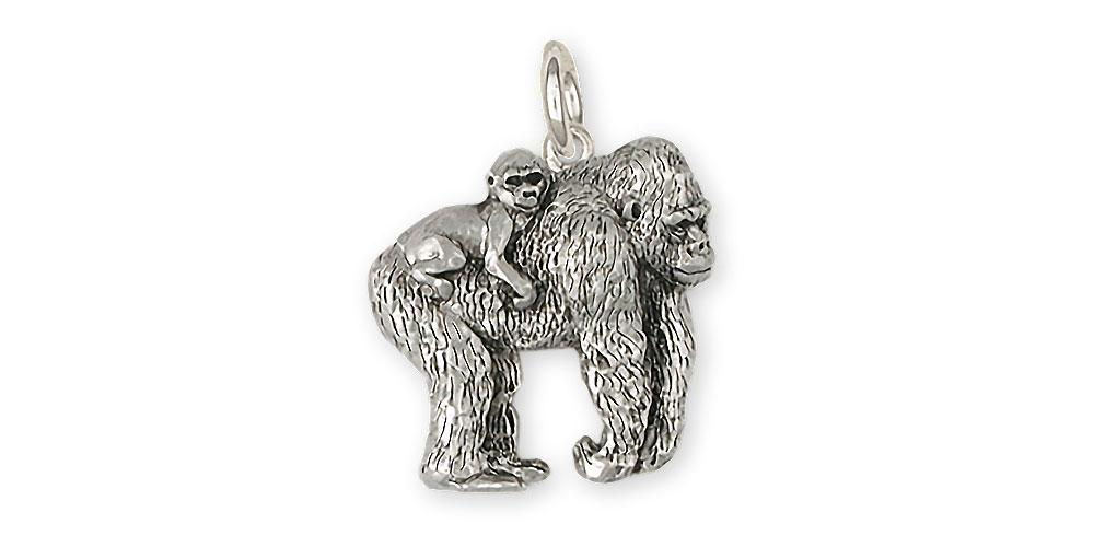 Gorilla Charms Gorilla Charm Sterling Silver Wildlife Jewelry Gorilla jewelry
