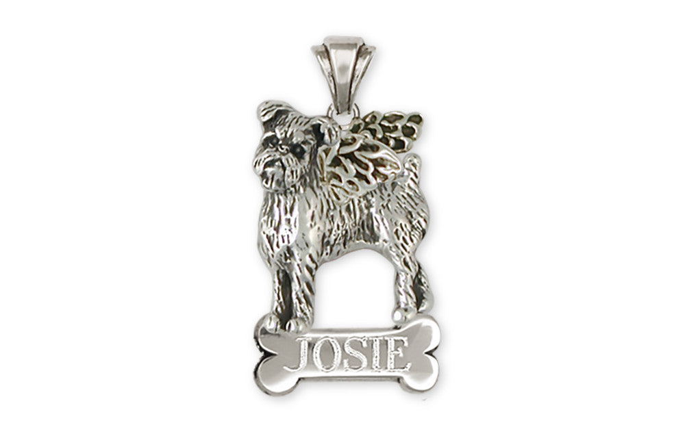 SterlingSilver Jewelry Brussels Griffon Necklace Gold Dog Charm RoseGold