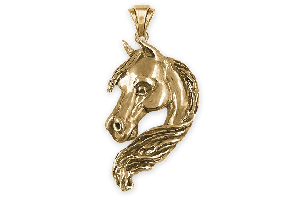 Prancing Horse 14k Solid Gold Necklace Dark Horse White Horse Options Fine Jewellery by Fiemma DHL Express Shipping