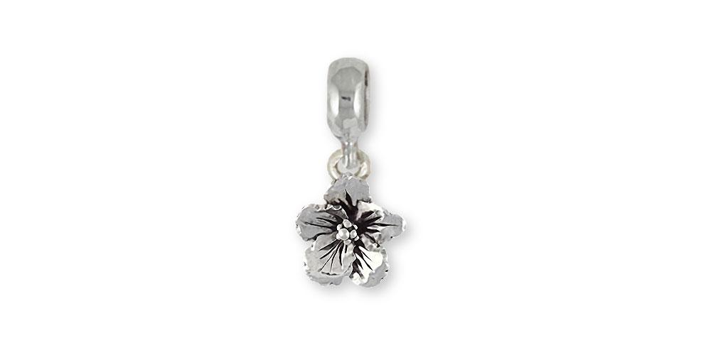 Hibiscus Charms Hibiscus Charm Slide Sterling Silver Hibiscus Flower Jewelry Hibiscus jewelry