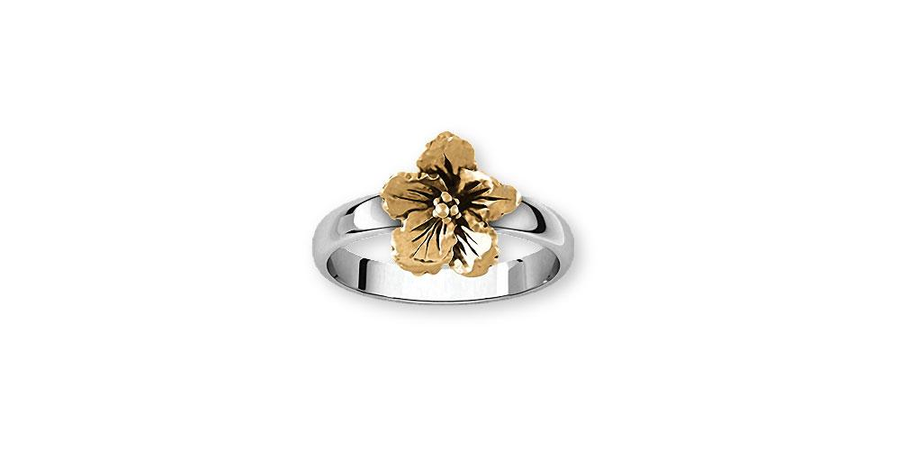 Hibiscus Charms Hibiscus Ring Silver And 14k Gold Hibiscus Flower Jewelry Hibiscus jewelry