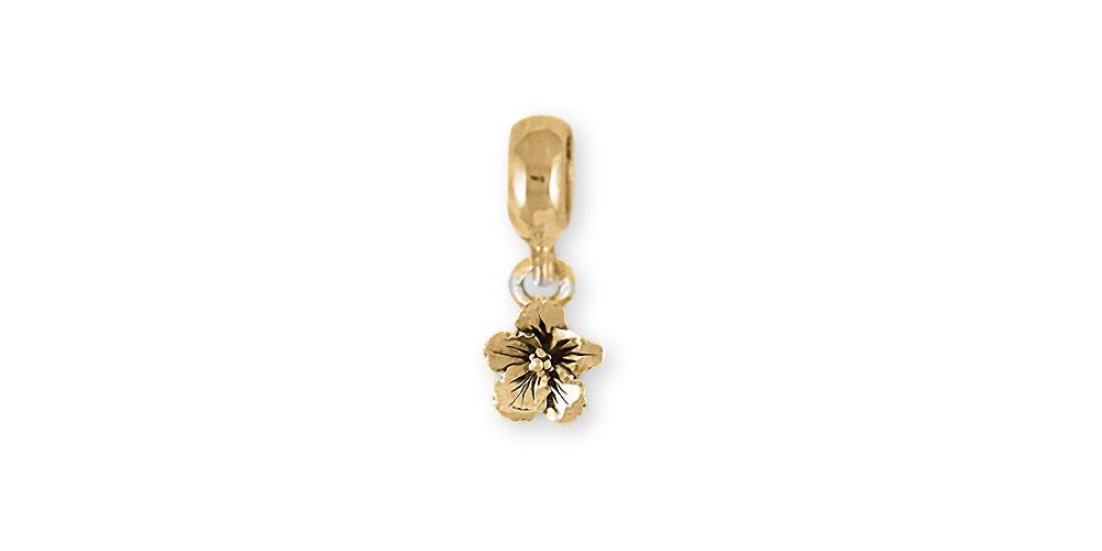 Hibiscus Charms Hibiscus Charm Slide 14k Gold Hibiscus Flower Jewelry Hibiscus jewelry