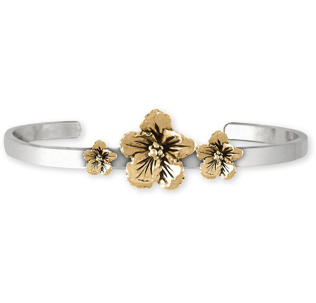 Hibiscus Charms Hibiscus Bracelet Silver And 14k Gold Hibiscus Flower Jewelry Hibiscus jewelry