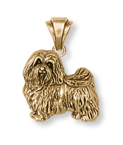 Havanese Pendant 14k Yellow Gold Vermeil Dog Jewelry HV1-PVM
