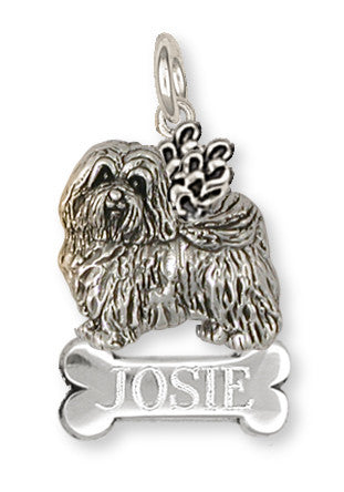 Havanese Angel Charm Handmade Sterling Silver Dog Jewelry HV1A-NC