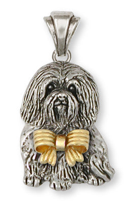 Havanese Pendant Sterling Silver And 14k Gold Dog Jewelry HV4-BWP