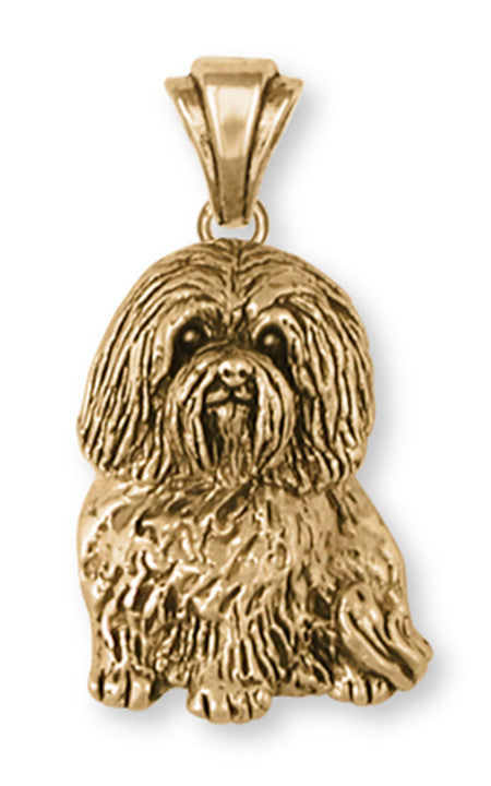 Havanese Pendant 14k Yellow Gold Vermeil Dog Jewelry HV4-PVM